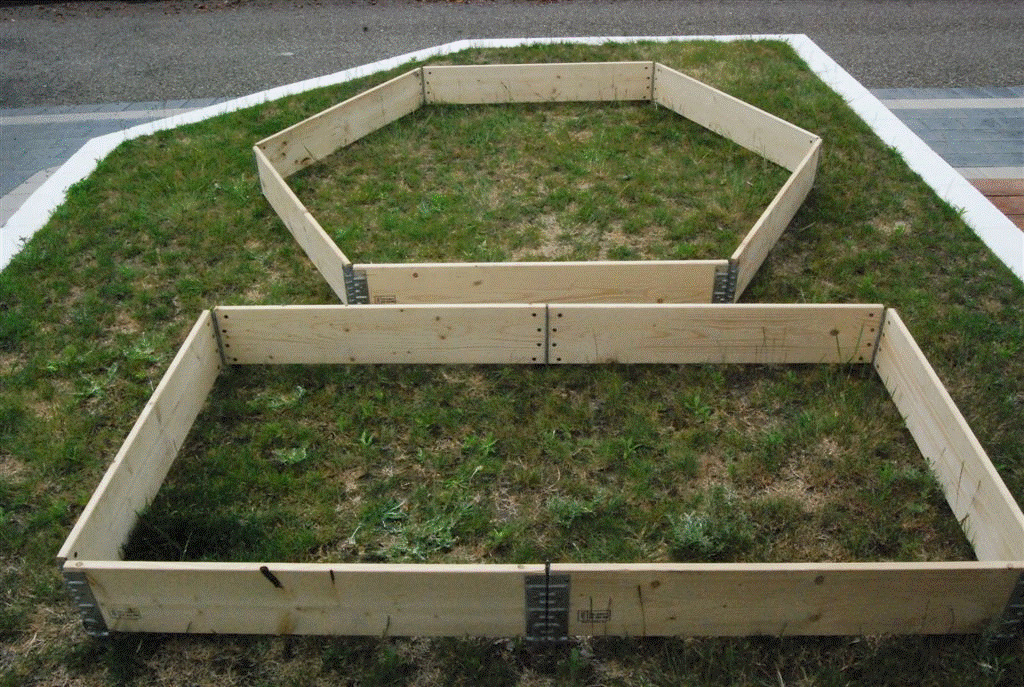 A Hexagon And Long Rectangle Raised Garden Bed (3 Standard Collars Used)